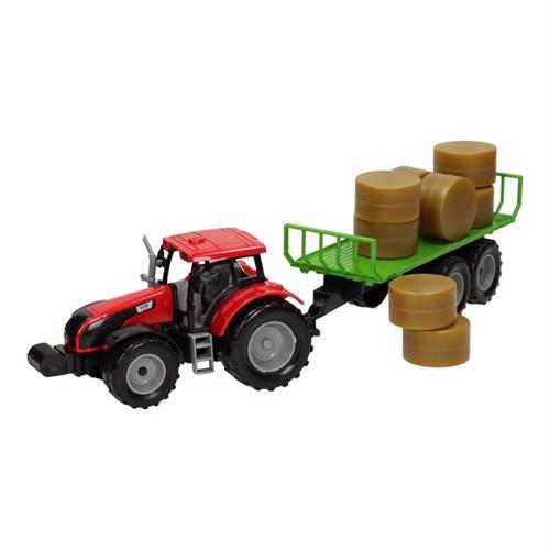 Image of Traktor med balle vogn 1:32