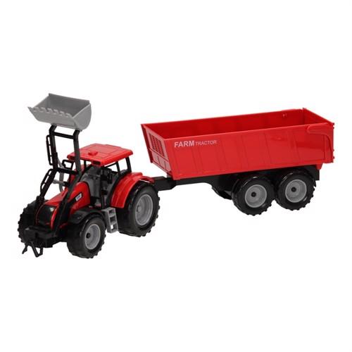 Image of Traktor med frontlæsser og trailer 1:32