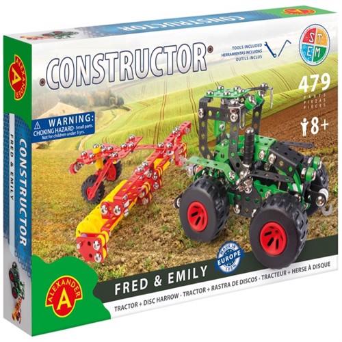 Image of Traktor m/anhænger Metal Konstruktionsbyggesæt - Fred og Emily (5906018021660)
