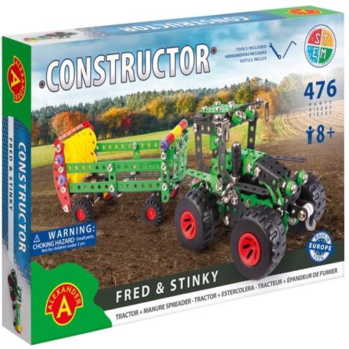 Image of Traktor m/anhænger Metal Konstruktionsbyggesæt - Fred og Stinky (5906018021639)