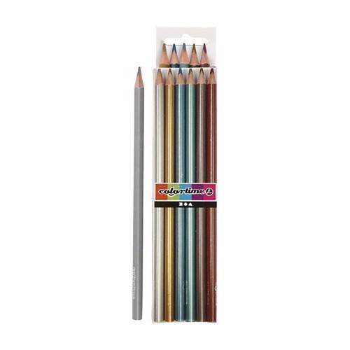 Image of Colortime - Trekantet Farveblyanter - Metallic, 6stk