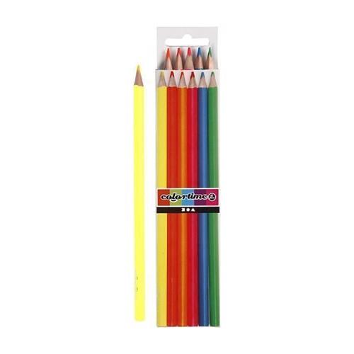 Image of Colortime - Trekantet Farveblyanter - Neon, 6stk