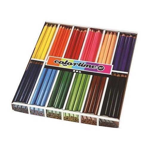 Image of Colortime - Trekantet Jumbo Farveblyanter - Basis Farver, 144Stk