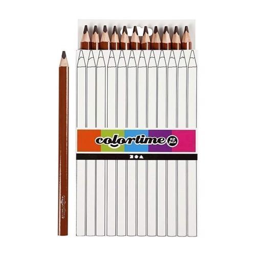 Image of Colortime - Trekantet Jumbo Farveblyanter - Brun, 12stk