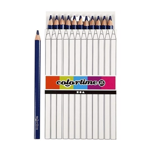 Image of Colortime - Trekantet Jumbo Farveblyanter - Mørkeblå, 12stk