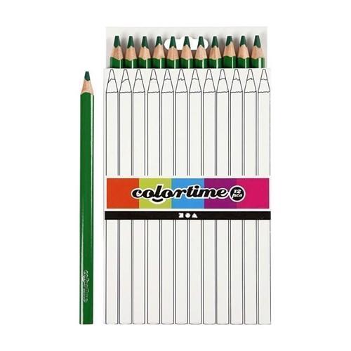 Image of Colortime - Trekantet Jumbo Farveblyanter - Grøn, 12stk