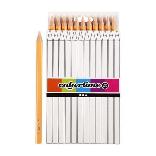 Image of Colortime - Trekantet Jumbo Farveblyanter - Hudfarvet, 12stk