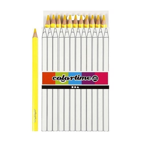 Image of Colortime - Trekantet Jumbo Farveblyanter - Gul, 12stk