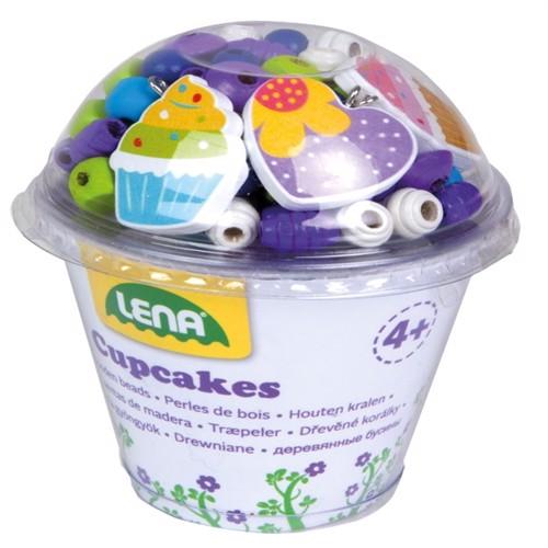 Image of Træperler Cupcake Blå - Lav-det-selv Halskæde (4006942860906)