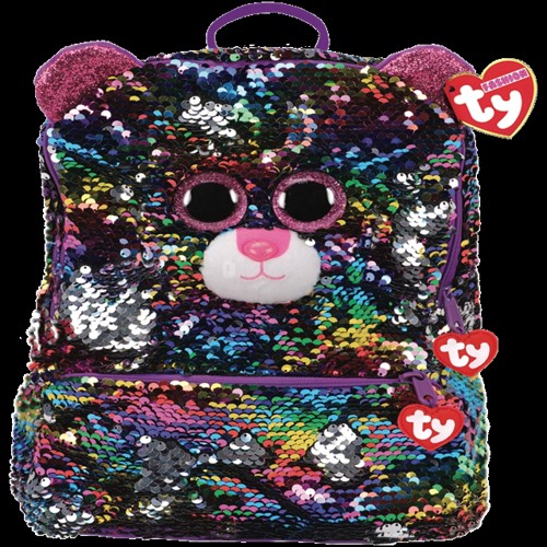 Image of Ty Plush - Sequin Square Backpack - Dotty the Leopard (TY95045) (0008421950454)
