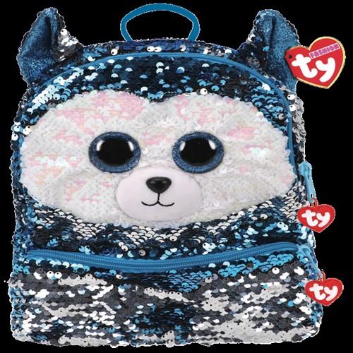 Image of Ty Plush - Sequin Square Backpack - Slush the Husky (TY95055) (0008421950553)