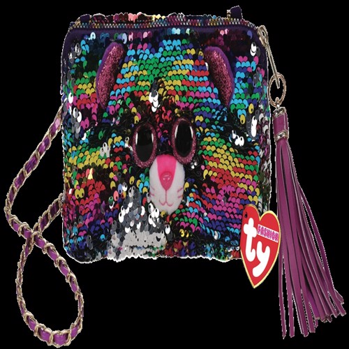 Image of Ty Plush - Sequin Square Purse - Dotty the Leopard (TY95145) (0008421951451)