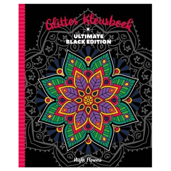 Image of Ultimate Black Glitter Coloring Book Night Flowers (8712048323400)