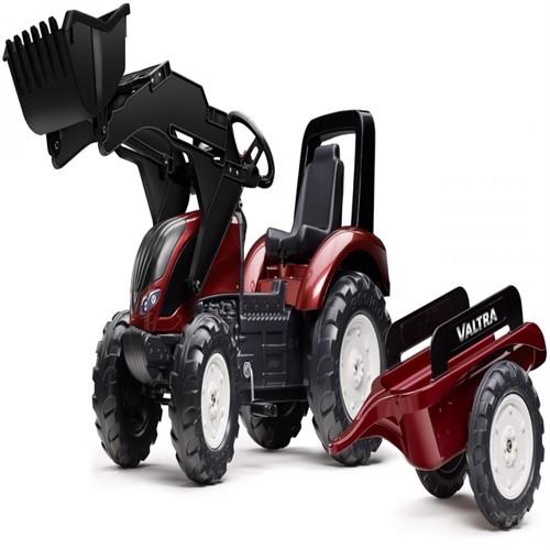 Image of Valtras 4 Pedal Traktor Til Børn Med Frontskovl Trailer