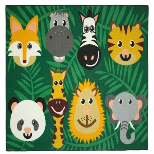 Image of   Vilde dyr, gulvtæppe til børn, 133x95