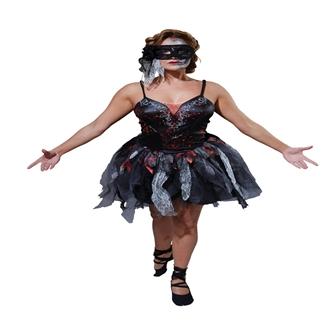 Image of Voksen Død Ballerina Halloween Kjole(Str. 6 / XS) (883028150717)