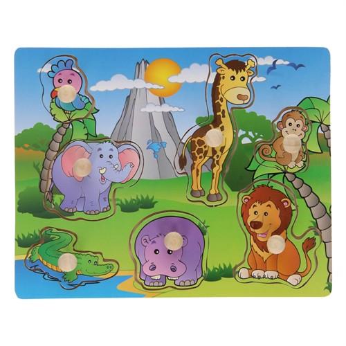 Image of Knoppuslespil i træ, med vilde dyr 7 dele