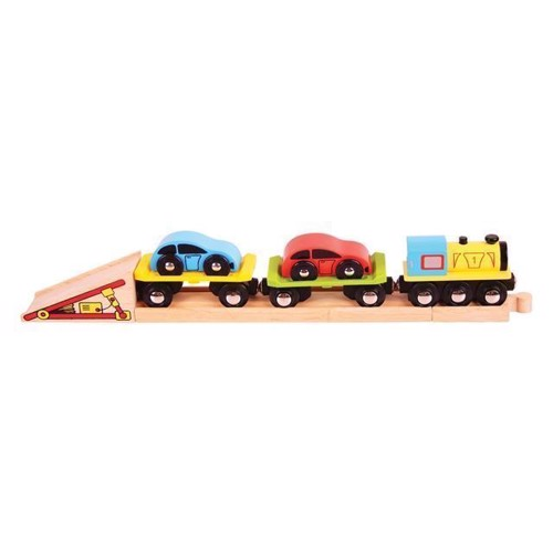 Image of Trandport tog i træ med 2 biler