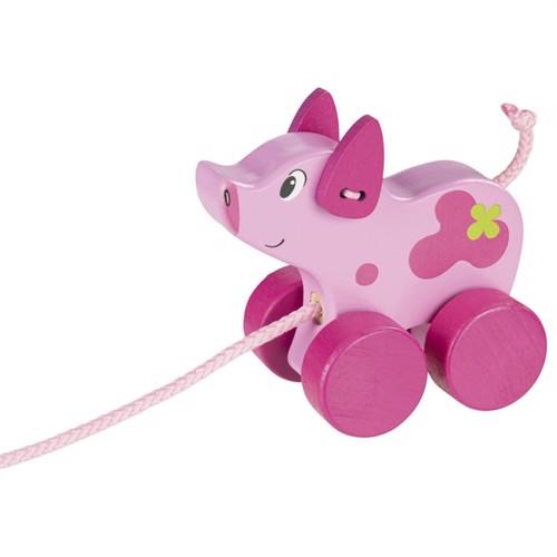 Image of Wooden draft animal pig (4013594548854)