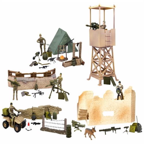 Image of Worldpeace Keepers 1:18 Militær Checkpoint Inkl 5 Actionfigurer (018859770852)