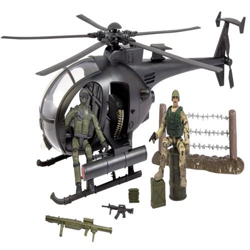 Image of World Peacekeepers 1:18 Militær Kamphelikopter Inkl 2 Actionfigurer (018859770319)